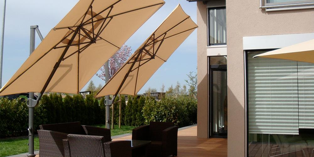 """Bildgalerie """"Sonne im Garten"""": Ampelschirme, Wandschirme, Sonnenschirme, Pergola für Garten, Hof, Balkon, Terrasse, Schwimmbad, Jacuzzi oder Pool-Haus"""